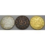 JUGOSLAVIJA 25 Para ND(1970) - 50 let prvega jugoslovanskega denarja. - 3 Medalje.
