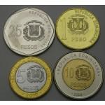 DOMINIKANSKA REPUBLIKA 1 Peso / 25 Pesos 2008/2015 - Lot 4 kovancev - UNC