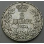 SRBIJA 2 dinarja 1904