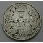 SRBIJA 2 dinarja 1879