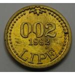 SLOVENIJA 0.02 Lipe 1991