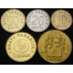 ESTONIJA 10 Senti / 5 Krooni 1994 / 2008 - Lot 5 kovancev - UNC